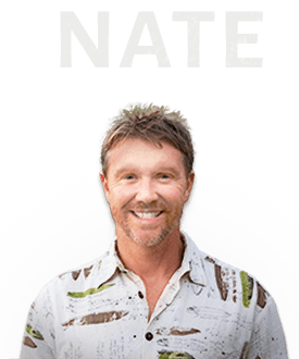 Cutout of Nate with his name above